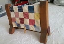 """10.5"""" x 8"""" Quilt Display Rack & 8"""" x 11"""" tied square tea stained Quilt sewing"""