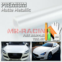 Matte Metallic Satin Pearl White Vinyl Wrap Sticker Bubble Free Film Decal DIY
