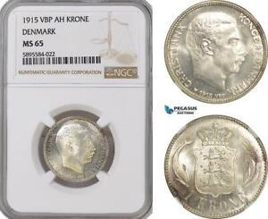 AG170-R, Denmark, Christian X, 1 Krone 1915 VBP, Copenhagen, Silver, NGC MS65