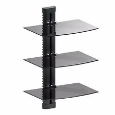 3 TIER TRIPLE GLASS SHELF WALL MOUNT  TV CABLE BOX COMPONENT DVR DVD BRACKET