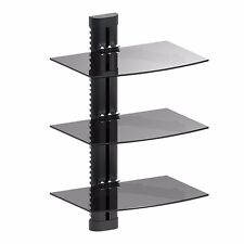 3 TIER GLASS SHELF WALL MOUNT UNDER TV CABLE BOX COMPONENT DVR DVD BRACKET