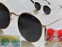 Round Slightly Oval Lens Lightweight Snug-Fit Wire Rim Style Metal Sunglasses