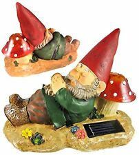 Garden Gnome Statue Sculpture Solar Yard Outdoor Lawn Decor  Light Figurine
