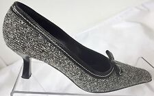 Ladies Russell Bromley Leather Vero Cuoio Court Shoes Black/White Size 37 / 4 UK