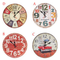 Retro 12-hour Display 3D Watch Wooden Printed Wall Clock Living Room Home Decor