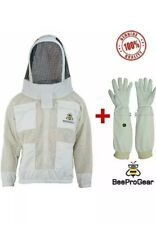 Unisex 3Layer Ventilated White Mesh Bee Jacket Fencing Veil/Hood+FREE GLOVES.3XL