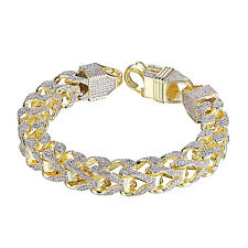 Mens Iced Out Franco Bracelet 14K Yellow Gold Tone Lab Diamonds 11mm