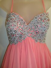 Anny Lee S Dress Prom Formal Silver Sequin Beaded Embroidered Bright Coral Party