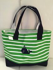 Navy Blue Whale Canvas green white Striped beach cotton tote bag Embroidered New