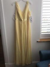 BNWT Davids Bridal Pale Yellow Maxi Long Chiffon Bridesmaid Dress UK 14