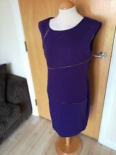 Ladies RONNI NICOLE Dress Size 14 Purple Shift Zip Detail Built in Shape Wear