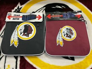 """WASHINGTON REDSKINS PAIR OF DUFFEL BAGS BLACK AND BURGUNDY 28"""" EXPANDABLE"""
