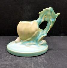 Roseville Poppy Green Single Candleholder - 1129- MINT