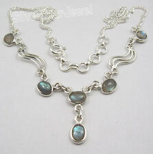 "925 Sterling Silver CABOCHON LABRADORITE GEMSTONE Necklace 17.25"" BIJOUX"