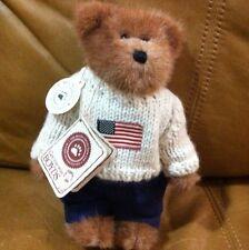 "Boyds Bears ""Edmund"" USA 🇺🇸 Flag Sweater #9175-18, 8"" Plush Teddy Bear 2002"