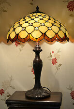 "TL1601 16"" Handmade Tiffany Glass Cream & Amber Table Lamp Light - Home / Gift"