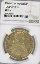 1808 MO TH MEXICO FERDINAND Vll,  AU58 BY NGC, 8 Escudos, GOLD COIN  KM# 160