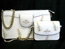 New ListingCoach Poppy Crossbody Shoulder Bag Lipstick Print Card Case Chalk Multi Nwt $298