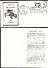 50th ANNIVERSARY OF THE 1910 MODEL T FORD TIN LIZZIE Commemorative Cover