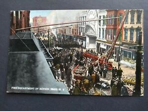 Vintage Firetruck Firemen in Action Troy Novelty Chas Hughes New York Postcard