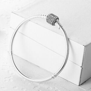 Fashion CZ S925 Silver Bangle Bracelet Snake Chain For European Charms Beads