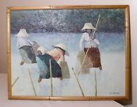 original vintage V. Chaiduang Thai impressionism ladies fishing oil painting art