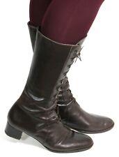 Boots Shoes Vintage Leather Lace Up Braun Long Leg Gothic Emo Punk 40