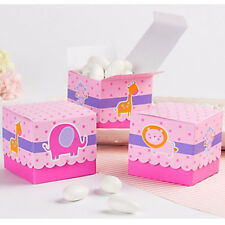 BABY SHOWER PINK Zoo Animals FAVOR BOXES (24) ~ Party Supplies Treat Loot Goody