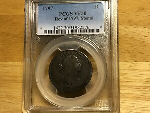 1797 LARGE CENT PCGS VF30 REVERSE OF 1797, STEMS FREE SHIPPING BELOW WHOLESALE!!