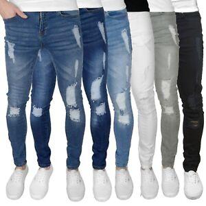 "F&H Razor Mens Ripped Super Skinny Fit Stretch Denim Jeans 28"" - 42"" Waist Sizes"