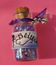bottle of fairy dust 'Believe'  (purple) with an organza bag