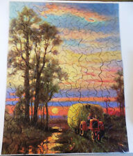 Vintage Tuco Deluzw Picture Puzzle At Close of Day Tractor Hay Bale