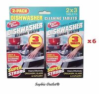 6x DISHWASHER CLEANING TABLETS Complete Clean Glass Cutlery Dishes Cleaner Pack