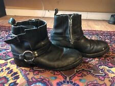 HARLEY DAVIDSON MENS BLACK LEATHER BOOTS SIDE STEP BUCKLE SIDE ZIP  Size 13