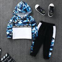 Toddler Kids Baby Boy Camouflage Hoodie Sweatshirt Tops Pants Outfits Set