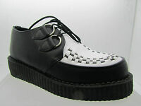 New Rare Retro Hand Made Uk Shoes Black White Leather Creepers Rock Punk
