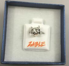 New Zable Sterling Silver Cat Face 2 Sided Bead / Charm BZ1728