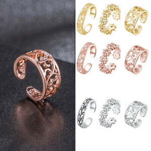 Woman Sexy Simple Copper Foot Ring Adjustable Opening Toe Rings 3 Piece Set