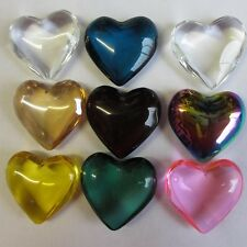 10 Glass Pendants Crystal Love Heart Assorted Vibrant Colour Large Free Bails