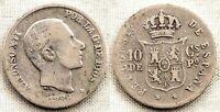 Spain-Alfonso XII. 10 centavos de peso. 1882. Manila Plata 2,6 g. Escasa