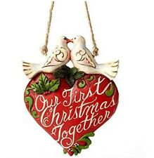 Jim Shore Red Heart & Doves Our First Christmas Ornament