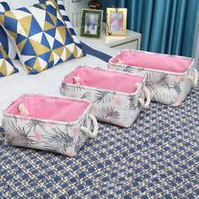 UK Cotton Linen Desktop Storage Box Container Basket Makeup Bag Organizer Decor