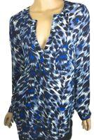 Joie New Blouse Deon Navy Blue Silk Animal Print V-Neck Top Round Hem L/S