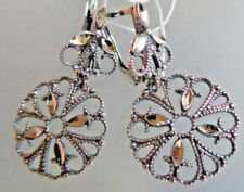Russia sterling silver filigree EARRINGS HALLMARKED 925  FLOR DE LIS MOTIFF