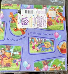 Disney Hallmark Winnie Pooh Gift Wrap Wrapping Paper Tigger Piglet NEW SEALED