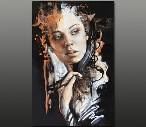 Gala ORIGINAL modern art nude girl face portrait hair lace oil painting ~NEW