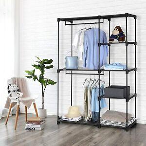 Black Open Wardrobe Bedroom Storage Organiser Shelf Drawers Hanging Clothes Rack