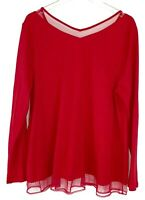 NWT Lane Bryant Womens Red hem MESH Layer Long Sleeve Top Plus Size 14/16