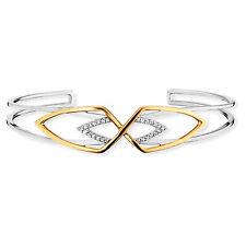 cai Armreif 925 Sterling Silber vergoldet zweifarbig 20x Topas weiß 0,08ct Damen