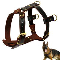 Large Leather Dog Harnesses Heavy Duty Pet Vest Dog Pulling Harness Brown